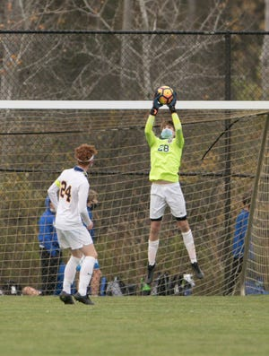 Hartland goalkeeper Matthew Preiss made 11 saves in a 1-0 loss to Walled Lake Central in a district soccer semifinal on Tuesday, Oct. 20, 2020.
