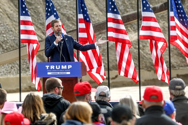 Eric Trump speaks to supporters on Tuesday, Oct. 20, 2020, at Schlegel Sand and Gravel in Lansing.