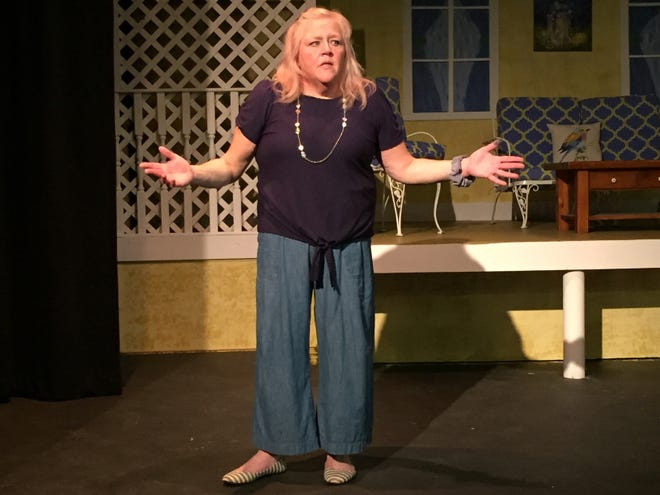 """Anita Adkins rehearses for """"The Savannah Sipping Society,"""" to be held the next two weekends at the Mansfield Playhouse."""