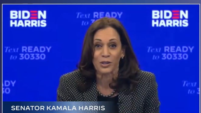 Democratic vice presidential candidate Kamala Harris speaks in a virtual campaign event with Milwaukee voters, Tuesday, October 20, 2020.