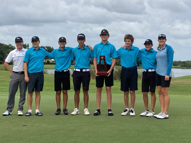 The Gulf Coast High School boys golf team finished second in the Class 3A-Region 3 tournament on Tuesday, Oct. 20, 2020 at Misty Creek Country Club in Sarasota to advance to the state tournament.
