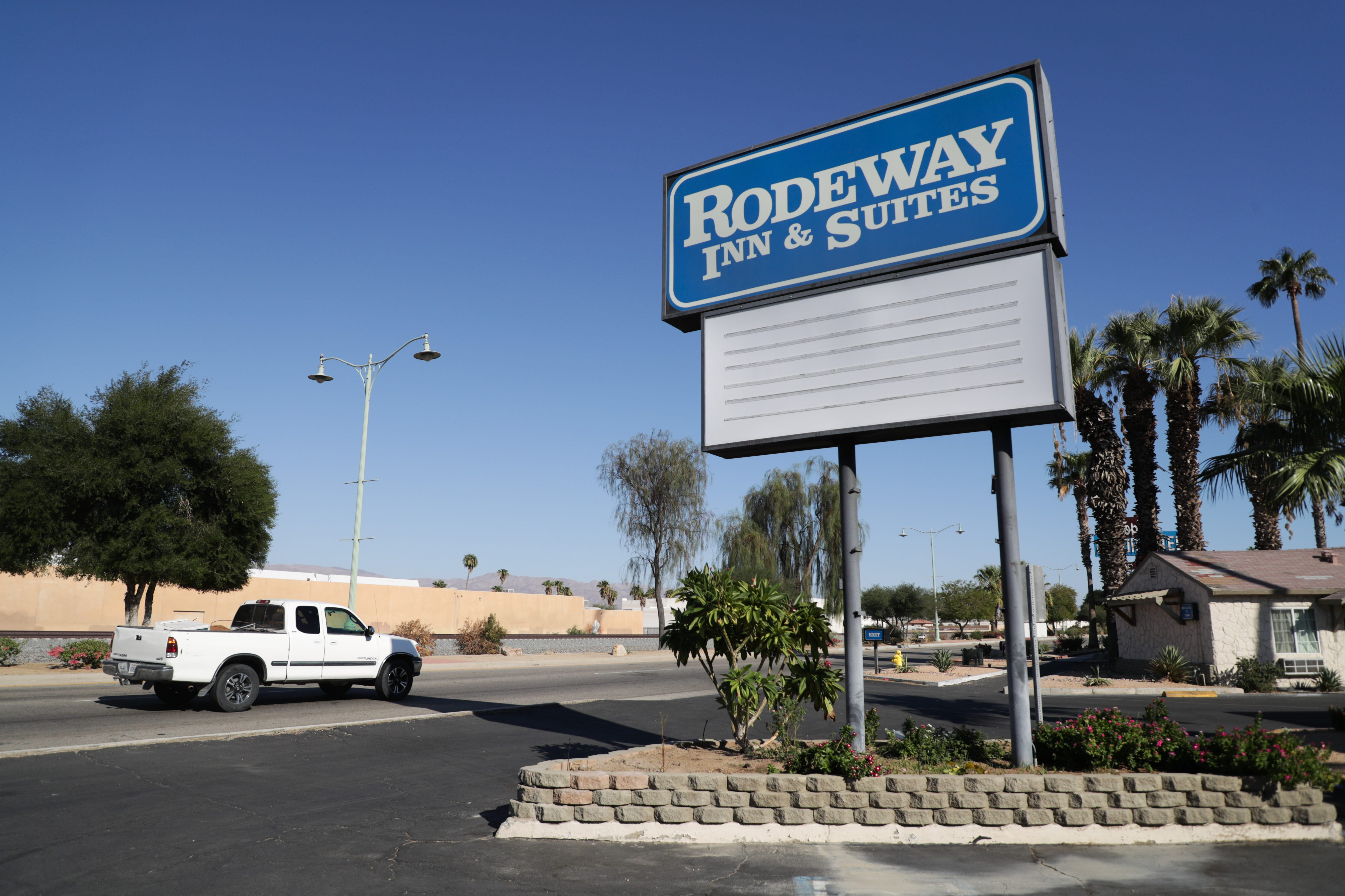 Rodeway Inn & Suites in Indio, Calif., partnered with the state for Project Roomkey, an effort by the state to house individuals experiencing homelessness during the COVID-19 pandemic.