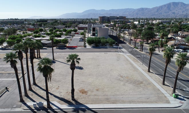 A plot of land on Bliss Avenue and Oasis Street in Indio is being considered for development as part of a revitalization of the downtown area.