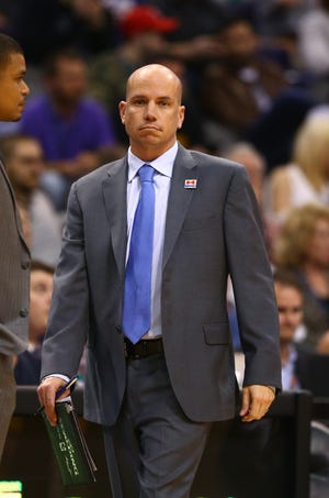 Feb 1, 2017; Phoenix, AZ, USA; Phoenix Suns assistant coach Nate Bjorkgren against the Los Angeles Clippers at Talking Stick Resort Arena. The Clippers defeated the Suns 124-114. Mandatory Credit: Mark J. Rebilas-USA TODAY Sports
