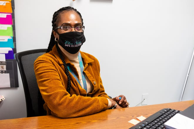 Angela Wallace, interim director for Blue Water Safe Horizons, poses for a portrait Tuesday, Oct. 13, 2020. Wallace said the number of people in an abusive situation seeking help had decreased during the pandemic.