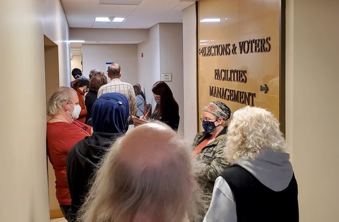 Early voters lines up Monday, Oct. 19, 2020, outside York County's election office. Monday was the last day to register ahead of the Nov. 3 election. And many people were there to cast their ballot early. Photo by Jon Alexander