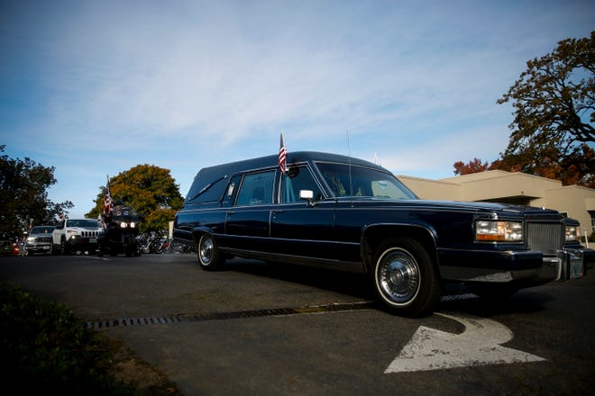 "A funeral procession for World War II veteran Bill Wingett, 98, departs Salem for the Willamette National Cemetery in Portland on, Tuesday, Oct. 20, 2020. Wingett, a long-time Salem resident and one of the last remaining members of the World War II ""Band of Brothers,"" died Oct. 1 at an Oregon veterans' home in Lebanon."