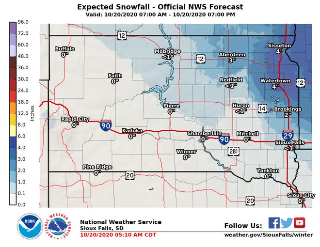 A winter weather advisory is in effect until 4 p.m. on Tuesday. Two to four inches of snowfall expected in northeast South Dakota.