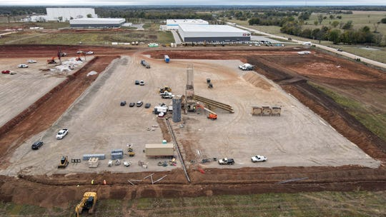 Drone images from the construction of a large warehouse being built in Republic on October 20, 2020.