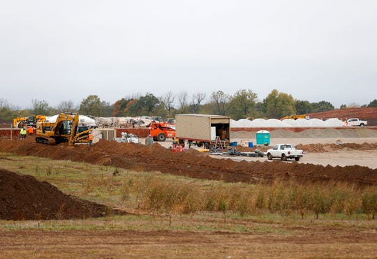 Construction of a large warehouse at 3200 East Sawyer Road in the Garton Business Park is well underway on Friday, Oct. 9, 2020.