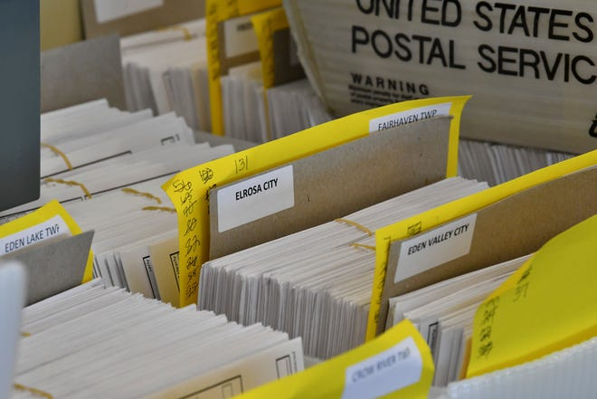 Absentee ballots are organized for counting Tuesday, Oct. 20, 2020, at the Stearns County Service Center in Waite Park.