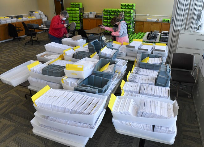 Stearns County Auditor/Treasurer officials organize stacks of absentee ballots in a counting room Tuesday, Oct. 20, 2020, at the Stearns County West Service Center in Waite Park.