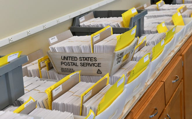 Absentee ballots are organized by area Tuesday, Oct. 20, 2020, at the Stearns County Service Center in Waite Park.