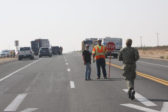 A Navy fighter jet crashed near Ridgecrest, Calif. on October 20, 2020.