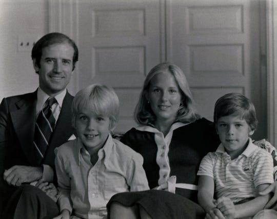 Joe Biden, from left, Beau Biden, Jill Biden, and Hunter Biden sit for a portrait October 1978.