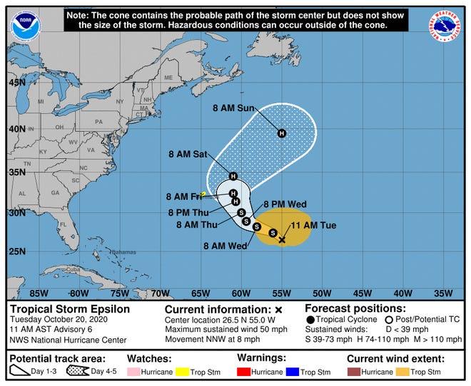 La trayectoria pronosticada de la tormenta tropical Epsilon muestra que se aproxima a las Bermudas a finales de semana.