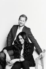 Prince Harry and Duchess Meghan of Sussex, in the published photo regarding TIME100 Talk's appearance, October 20, 2020.