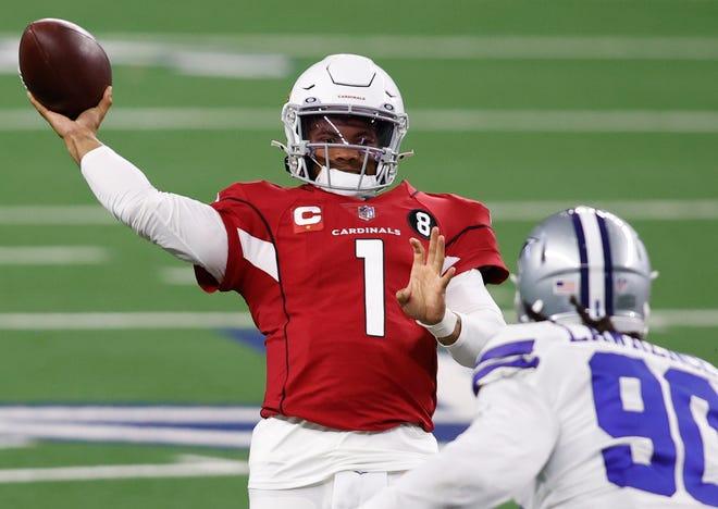 Arizona Cardinals quarterback Kyler Murray throws a pass against the Dallas Cowboys.