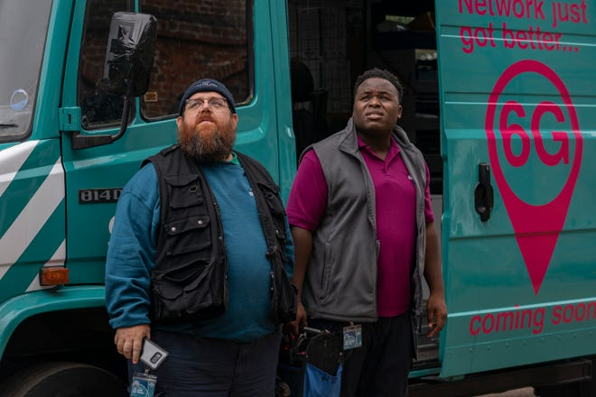 """Nick Frost as Gus Roberts, Samson Kayo as Elton in """"Truth Seekers"""" on Amazon."""
