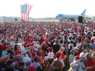 Supporters watch President President Donald J. Trump speak during a Make America Great Again Rally in Tucson, Ariz. Oct.19, 2020.