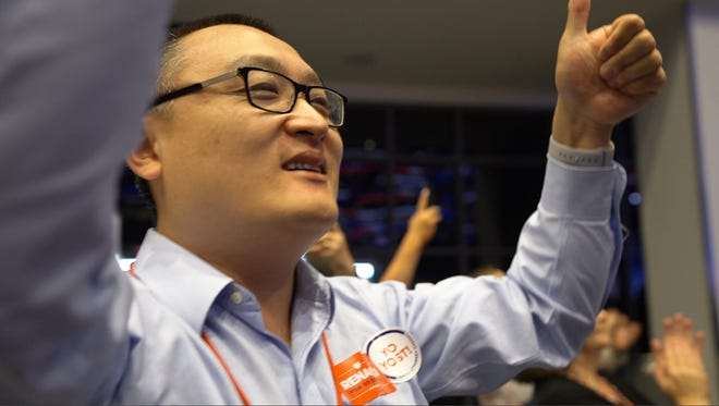 """Ohioan Lance Chen gives two thumbs up in support of Jim Renacci's 2018 Senate bid in the documentary """"First Vote."""""""