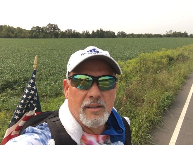 Barrington native Doug Catts during the walk he did earlier this year, to raise money for homeless veterans. Catts literally walked from Trenton down to Audubon, almost 40 miles.