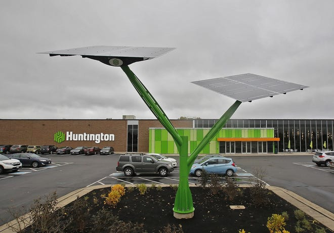 Solar trees help power Huntington Bancshares' office at 5555 Cleveland Ave.