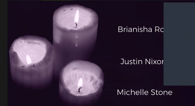 The names of local domestic violence victims were posted during a virtual candlelight vigil Tuesday night hosted by the Lafourche Parish District Attorney's Office.