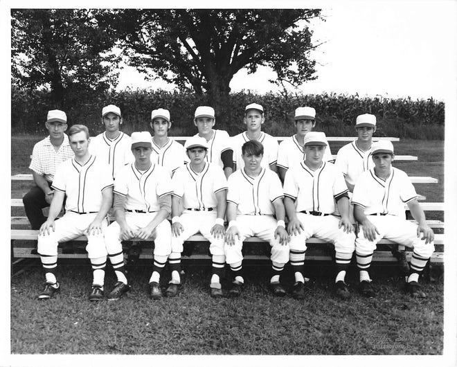 Waynedale's 1970 Hot Stove national championship team: (front) Larry Burns, Gary Jensen, Bob Hartsell, John Snyder, Les Saurer, Charlie Miller; (back) Coach Bill Vincent, Brad Vincent, Randy Kiser, Jeff Vincent, Dave Marthey, Rick Rottman, Dale Cramer.