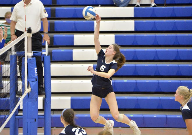 McDowell's Abby Soboleski hits the ball in a match against Villa Maria Academy at the Joann Mullen Gymnasium, Hagerty Family Events Center on Oct. 20. McDowell's girls volleyball team plays at North Allegheny in Saturday's PIAA Class 4A quarterfinals.