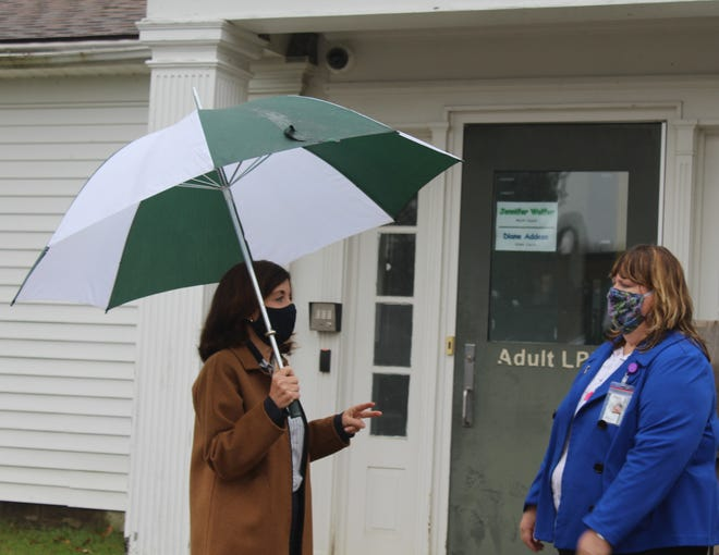 Lt. Gov. Kathy Hochul, left, talks with Allegany County Public Health Director Lori Ballengee at the COVID-19 rapid testing site at CTE BOCES in Belmont Tuesday afternoon.