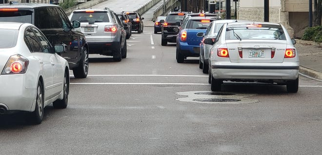 Traffic boggles down on Main Street in Jacksonville.