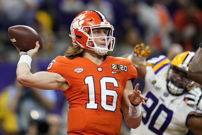 Clemson quarterback Trevor Lawrence passes against LSU during the College Football Playoff national championship game in January.