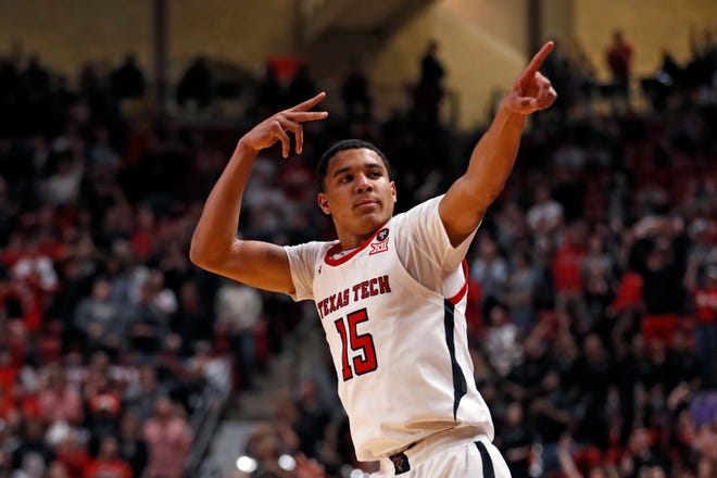 Texas Tech's Kevin McCullar (15) celebrates after scoring during the second half of a nonconference game Nov. 24, 2019 against Long Island at United Supermarkets Arena.