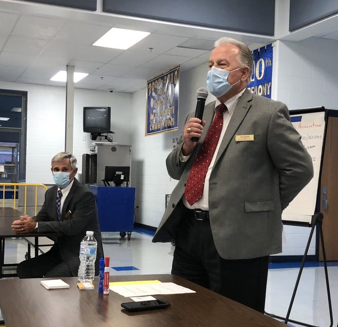 Bill Vogel, left, and John Reichert, consultants with the Florida School Boards Association, conducted Tuesday night's community meeting at Winter Haven High School to obtain public input in the school district's search for a new superintendent.