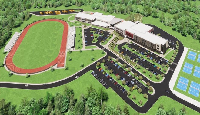 This rendering from Newport Public Schools shows the proposed new Rogers High School.
