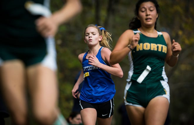 Kittatinny's Molly Riva competes during the Hunterdon Warren Sussex Cross Country Championships on Oct. 10, 2019, at Phillipsburg High School.