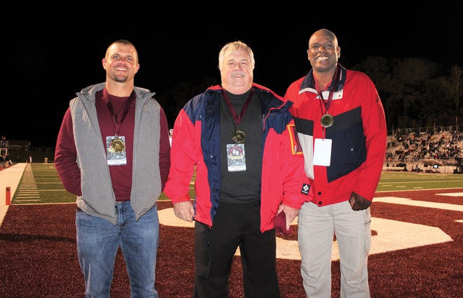 Spencer Gulmire,from left to right, John Selleh, Kim Pettus were inducted into the 2020 Oak Ridge Sports Hall of Fame on Friday, Oct. 16 during halftime of the Wildcats and Mt. Juliet football game.