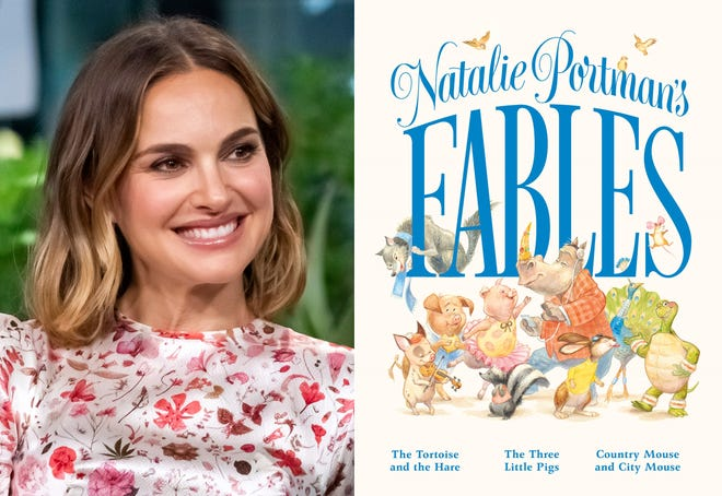 "Natalie Portman participates in the BUILD Speaker Series to discuss the film ""Lucy in the Sky"" in New York on Oct. 2, 2019, left, and the cover of ""Natalie Portman's Fables,"" a book of popular children's fables with a friendlier, more gender inclusive twist."