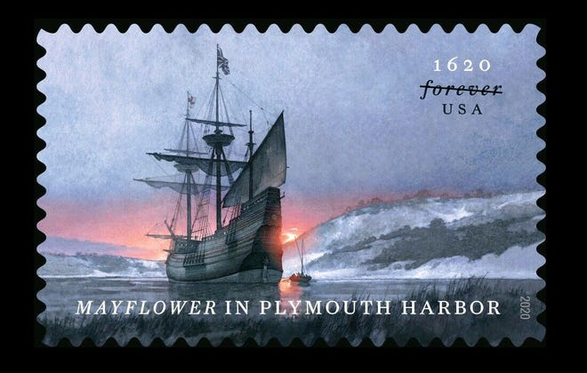 """The new 55-cent US Postal Service """"forever"""" stamp featuring the ship Mayflower that settled into what became Plymouth Harbor, Massachusetts, four centuries ago in November 1620. For the record, the 300th anniversary commemorative Mayflower stamps from 1920 cost a penny and a nickel."""