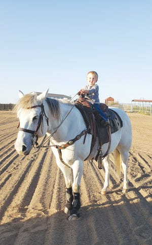 Even Tia Gilleece's less than two-year-old son is able to ride one of her six riding lesson horses. She enjoys using her life skills in horsemanship to help others learn to ride and gain confidence in life.