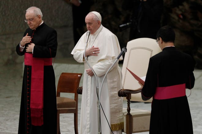 Pope Francis at his weekly general audience at the Vatican on Wednesday. [AP/Gregorio Borgia]