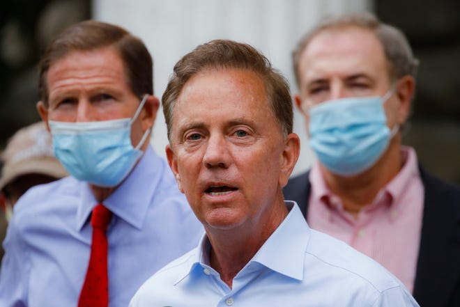 Connecticut Gov. Ned Lamont addresses the media in September. [AP file/John Minchillo]