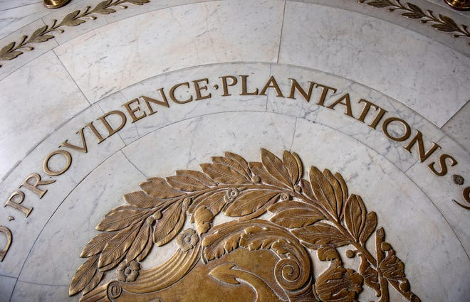 The official seal of the State of Rhode Island and Providence Plantations on the floor at the State House. [The Providence Journal / David DelPoio]