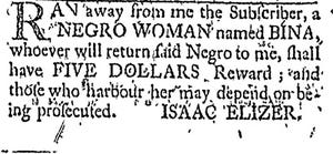 An advertisement for the escaped slave Bina in the Newport Mercury of May 18, 1769.