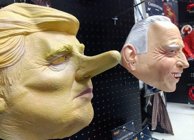 Donald Trump and Joe Biden masks at Spirit, the Halloween store in Jackson Township.