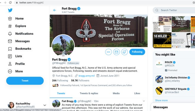 The Fort Bragg Twitter page has been resecured after it was hacked Wednesday.