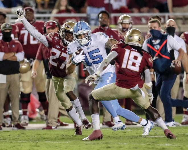 UNC senior receiver Beau Corrales (15), who had four catches for 141 yards and a touchdown in last week's loss at Florida State, is one of several weapons available to quarterback Sam Howell.