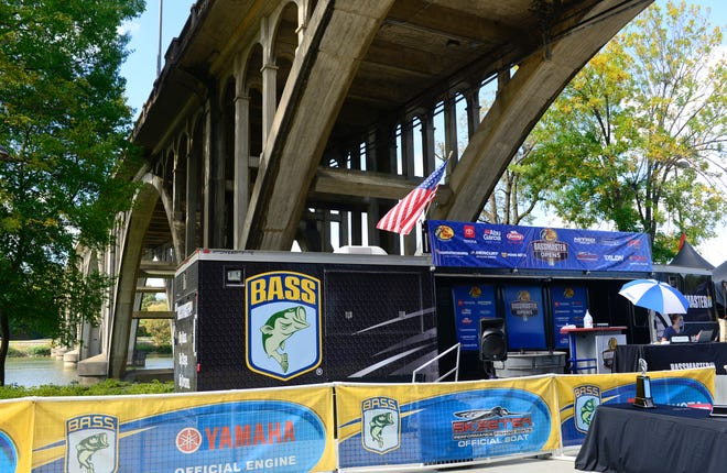 A registration area for the Basspro.com Bassmaster Central Open Division tournament is set up at Coosa Landing in Gadsden on Oct. 21. An assortment of bass tournaments, including a Bassmaster Elite Series event, are scheduled locally for 2021.
