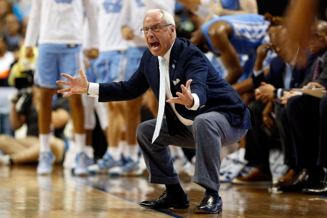 North Carolina coach Roy Williams, reacting here in March at the ACC Tournament, has a six-man recruiting class to mix with the Tar Heels' returnees this season.